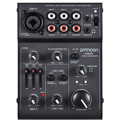 Mic-Mischpult,ammoon Mischpult Mixer AGE03 5-Kanal Mini Mic-Line Mixer mit USB Audio Interface Eingebauter Echo Effekt USB Powered für die Aufnahme DJ Network Live Sendung Karaoke