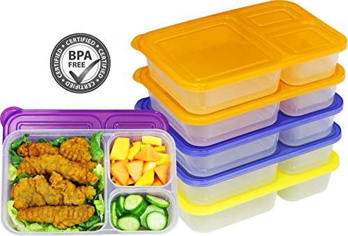 6 Pack - SimpleHouseware Color Reusable 3-Compartment Meal Prep Container Boxes (36 ounces)