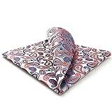 S&W SHLAX&WING Hombres Corbatas Corbata para Hombres Plata Rosa Fucsia Paisley Pañuelo de Bolsillo a Juego Solamente