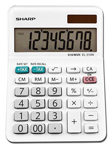 Sharp EL-310WB Calculator, White 3.125, 3.38 x 4.75 x 1.0 inches