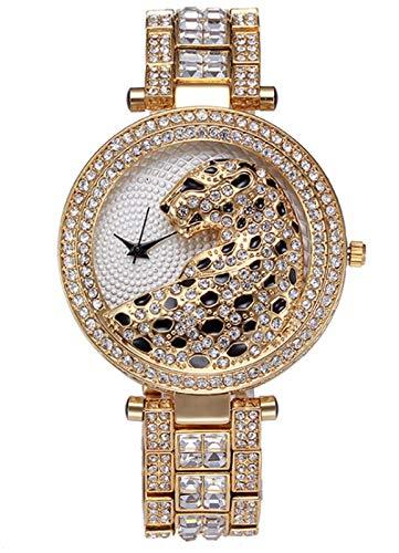 MLHXHX Reloj de moda para mujer, diseño de guepardo con diamantes de acero y correa de personalidad, reloj de cuarzo impermeable de gama alta