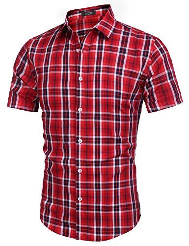 COOFANDY Hemden Herren Kurzarm Regular fit bügelfreies Hemd mit Kent Kragen Kurzarm