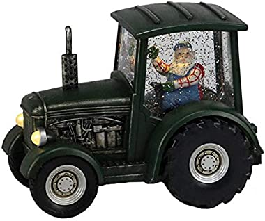 Craig Bachman Tractor Lighted Snow Water Globe with Santa Claus Driving Farm Tractor for Christmas Holiday Decor Table Decora