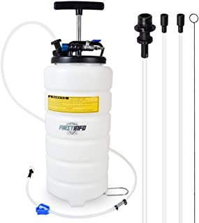 FIRSTINFO 15 Liter Pneumatic Manual Fluid Extractor/Vacuum Oil Pump Includes 6.6 ft Long Silicon Brake Fluid Hose with Check Valve Set (Standard)