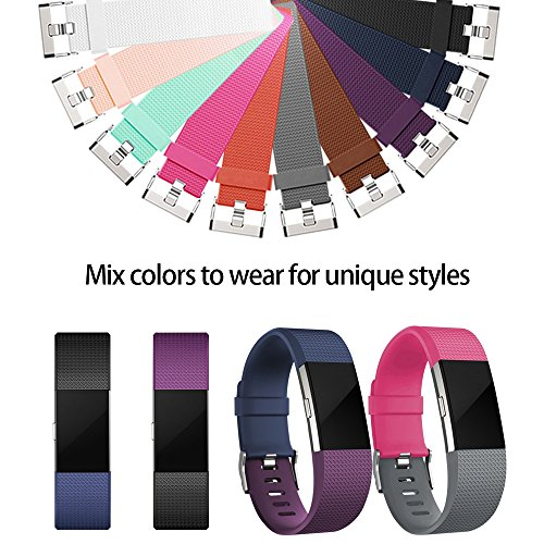 iGK Replacement Bands Compatible for Fitbit Charge 2, Adjustable Replacement Bands with Metal Clasp Classic Edition Black Large