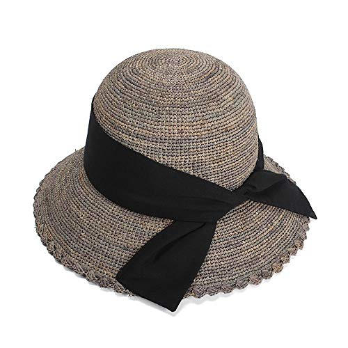 2019 麦わら帽子 レディース 夏 UVカット 婦人用 帽子 つば広 おしゃれ (Color : グレー, Size : 56-58cm)