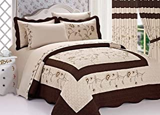 Legacy Decor 3pc Brown & Beige Fully Quilted Heart Shaped Embroidery Bedspread Bed Coverlets Cover Set King Size