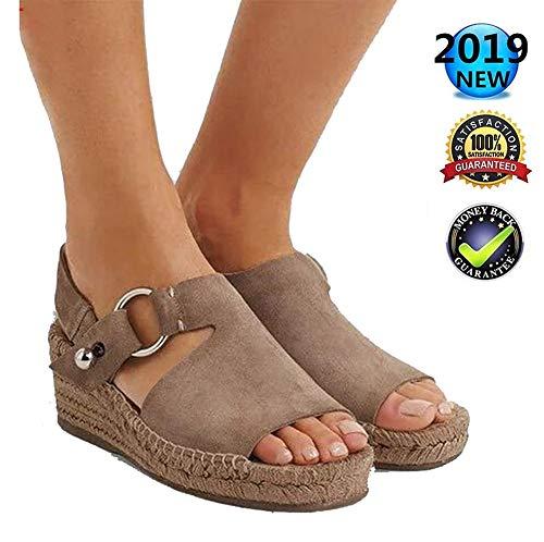 Sandals dames zomer wedge espadrilles, elegant wighak plateau enkelriem gesp wigsandalen plat leer Peep Toe comfortabele casual schoenen, 6 cm hoge hak bruin