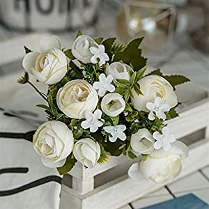 Silk Flower Arrangements Fake Flower 28cm/11in Rose White Silk Camellia Artificial Flowers Bouquet 10 Big Head Fake Flowers for Home Wedding Decoration Indoor Artificial Roses Flower (Color : DZH006 01)