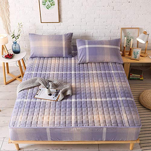 Bed Sheets Double Fittedwashed Cotton Bed Lily Single Piece Pure Cotton Full Cotton Thickened Cotton Bed Cover Bed Cover Non-Slip Fixed Mattress Cover Cover Protective Cover-Lavender_200X220 High 30