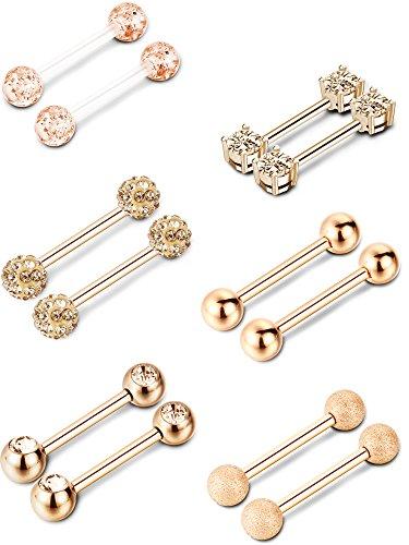 6 Paar Nippel Zunge Ring Edelstahl Barbell Ringe Zirkonia Nipplerings Piercing Schmuck, 14 Gauge (Rosa Gold)
