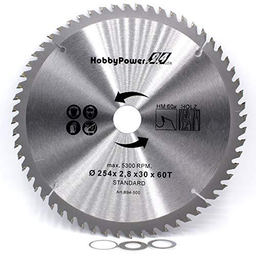 1 Kreissägeblatt Sägeblatt 254x30mm 60 Zähne + 3 Reduzierringe auf 25,4/20 / 16 mm für Einhell Tischkreissäge TC-TS 2025/2 eco