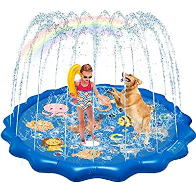 QDH Splash Pad Sprinklers for Kids Dogs 68'' Splash Play Mat Summer Outdoor Water Toys for Toddlers Baby Wading Pools Outside Backyard Kids Sprinkler by QDH