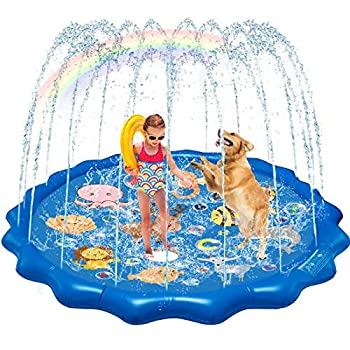 QDH Splash Pad Sprinklers for Kids Dogs 68   Splash Play Mat Summer Outdoor Water Toys for Toddlers Baby Wading Pools Outside Backyard Kids Sprinkler