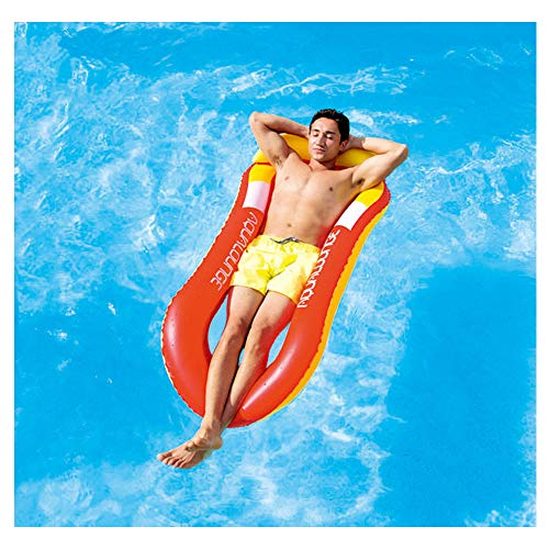 QEPOL Water Floating Hammock, Comfortable Spring Float Pool Lounger Rafts, Swimming Inflatable Bed & Chair, Sofa, Beach Mat for Adult Summer Outdoor Recliner Hammock Lounge Chair Drifter Sea (Red)