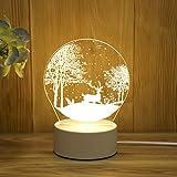 Luz de Noche USB Lámpara de Mesa Creativa de Dibujos Animados Dormitorio Pasillo Iluminación Decoración Regalo Luz Ciervo de Nieve USB Monocromo