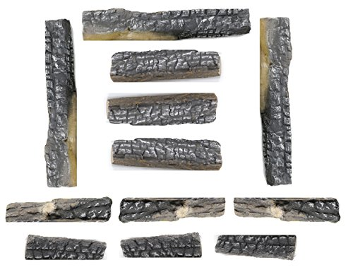 Youlian YL 12 Pieces Ceramic Fiber Logs Propane Gel Ethanol or Gas Fireplace Logs All Types of Indoor, Gas Inserts, Ventless & Vent Free, Electric, or Outdoor Fireplaces & Fire Pits