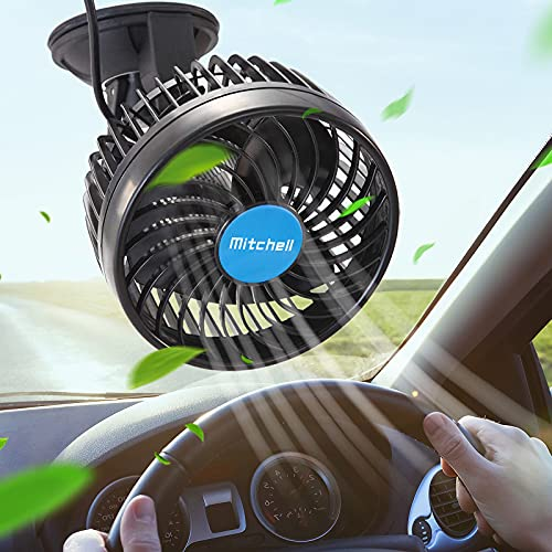 12 Volt Car Fans for Car Stepless Speed, Vehicle Truck Fan Cigarette Lighter with Suction Cup, Cooling Fan 360 Degree Adjustable Low Noise for Vehicle Car Truck Van SUV RV ATV Boat