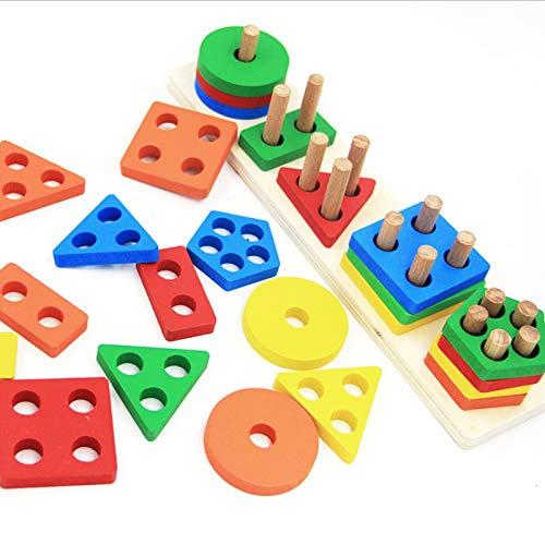 Jsdoin Pädagogisches Spielzeug mit geometrischem Formsortierer, stapelbares...