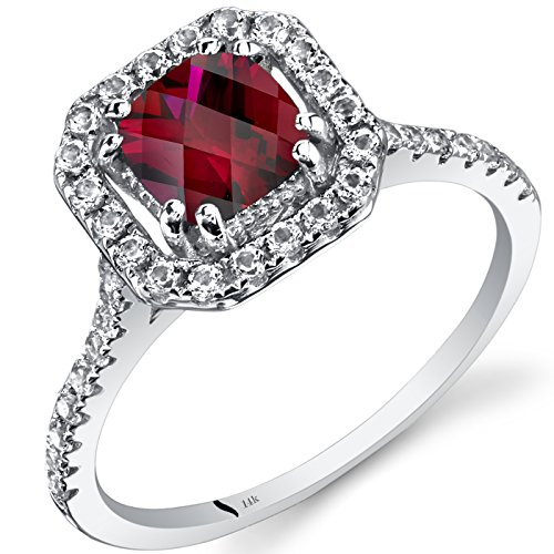 14K White Gold Created Ruby Cushion Cut Halo Ring 1.00 Carats Size 8