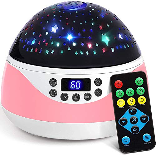 Music Projection Lamp, RTOSY Remote Baby Night Light with Timer, Rotating Stars Night Light Projector for Kids, Sleep Helper, Soothing Light for Bedroom/Nursery, Gift for Babies Girls (Pink)