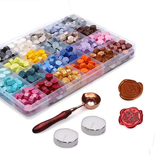 Xiangmall 600 Piezas Cuentas de Cera de Sellado Retro Colorido Perlas de Cera Sello con Velas de Té y Cuchara de Fundir para Sello de Cera Boda Sobres Invitaciones Caja de Regalo (24 colores)