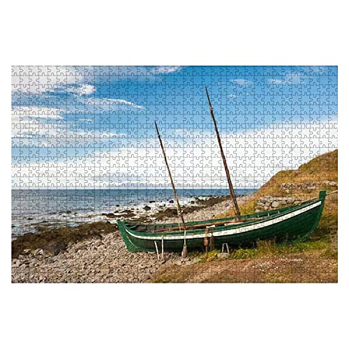 1000 piezas de barco de pesca antiguo Barco de los vikingos en la costa del océano Islandia Rompecabezas de gran pieza para adultos Juguete educativo para niños Juegos creativos Entretenimiento Rompec