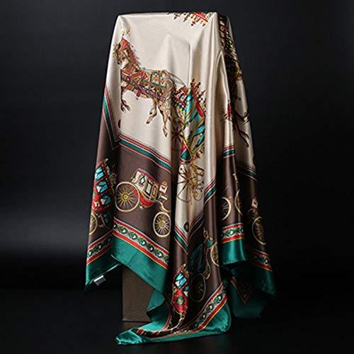 Mode Sjaals voor Vrouwen Print Satijn Zijde Sjaal Vrouwelijke 90x90cm Vierkante Sjaal Bandana voor Hoofd Grote Hijab Sjaals Voor Dames 2019