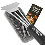 Acmind Grill Brush and Scraper, 18' Best BBQ Brush Cleaner for All Grill, Safe 3 in 1 Stainless Steel Woven Wire Bristles Barbecue Cleaning Brush for Charcoal Grill, Durable & Effective