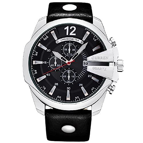 Legxaomi Relojes de hombre, Relojes de cuarzo para hombres, Relojes de hombre, Top Brand Luxury Reloj Hombres Relojes de cuero con calendario silverblack