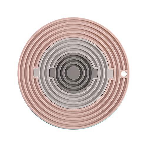 hellonihao Coaster Tres-en-uno Redondo Aislamiento térmico de Silicona Multifuncional Resistente a Altas temperaturas vajilla combinación Estera (F2)