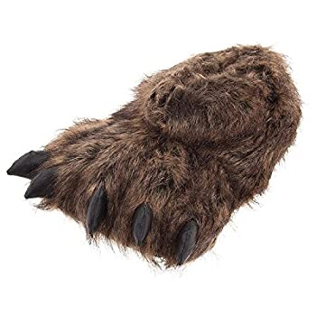 Grizzly Bear Paw Slippers for Women and Men Medium Brown