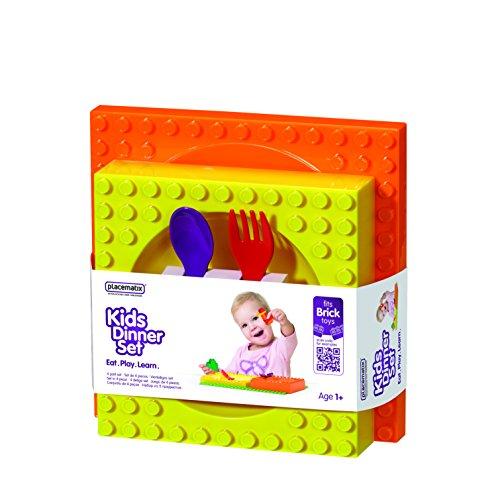 Placematix PM05 Kit Juego de Mesa de Plástico para Niños. Incluye: Bowl, Plato, Tenedor Y Cuchara, Multicolor