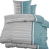 4 pezzi biancheria da letto Seersucker, 2 x 135 x 200 cm + 80 x 80 cm, grigio petrolio, a righe orizzontali, non occorre stirare, in microfibra (60344)
