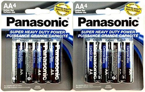 Panasonic 5741 8PC AA Batteries Super Heavy Duty Power Carbon Zinc Double A Battery 1.5V, Black (Pack of 8)