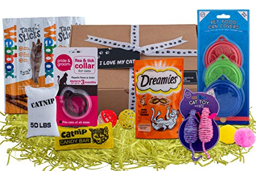 'I Love My Cat' Gift Hamper Selection Box for Cats & Cat Lovers. Flea & Tick Collar, Cat Toys, Tasty Cat Treats, Cat Food Covers, in a Beautifully Presented Lucky Dip Style Box.