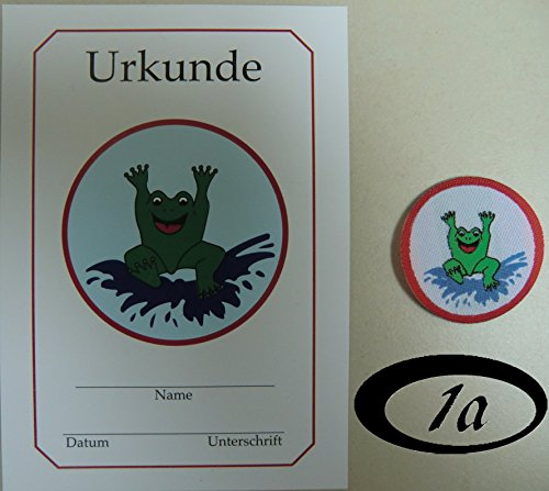 Erlebe Wasser 1x Frosch Abzeichen rund + Urkunde Stoffabzeichen