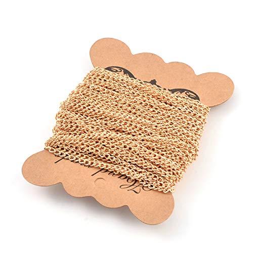 PandaHall - Cadenas trenzadas de hierro de 10 metros, 4 x 3 mm, oro sin soldar, para manualidades, pulseras, collares y joyas