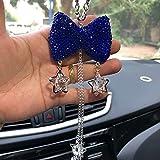 Cute Car Accessories for Women Interior,Bling Blue Car Decor for Women Girls,Lucky Rhinestone Crystal Bowknot Ornament,Rear View Mirror Crystal Ball Charm Decor