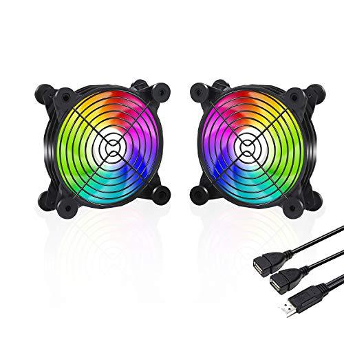 upHere - Ventilador USB de 120 mm Rainbow LED silencioso Fan 5 V Ventilador de refrigeración para PC/Xbox/Playstation/TV Box, etc.