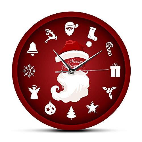 bbmmww rood Vrolijk Kerstmis Zadelreloj De Pared klok nieuw jaar Santa Klausel Kleurrijke print Acryl Slient niet-getikt wandklok