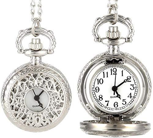 EURYTKS Reloj de Bolsillo de Cuarzo Vintage para Mujer, aleación Que se Puede Abrir, Flores ahuecadas, Cadena de suéter para Mujer, Collar, Reloj Colgante, Regalos