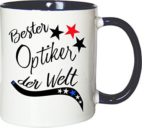 Mister Merchandise Becher Tasse Bester Optiker der Welt. Kaffee Kaffeetasse liebevoll Bedruckt Beruf Job Arbeit Weiß-Blau