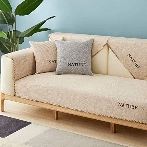 Jonist Funda de sofá Simple, Protector de Muebles Antideslizante de Lino para sofá Ensamblar Sofa-D-90X160cm