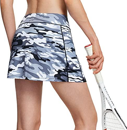 TSLA Gonna Active Athletic da tennis da donna, adatta per allenamento, corsa e golf, con tasche e pantaloncini integrati