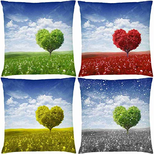 Heart Tree Decorative Throw Pillow Covers, Double-Sided Printing Four Seasons Tree Pillow Cushion Covers Patio Decorations Outdoor Pillow Cases for Sofa Couch Room Decor 16x16 Inches