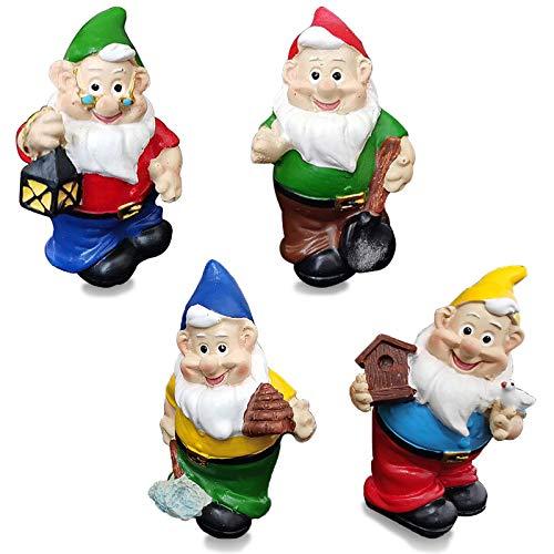 MUAMAX 4 Stück Miniatur-Zwerge für Feengarten, Feengarten, Zubehör, Geschenke, kleine Zwerge, Figuren, Ornamente, Mikro-Landschaft, Pflanzen, Bonsai, Basteldekoration