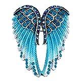 Women's Guardian Angel Wing Brooch Pins & Pendants 2 in 1 - Scarf Holders - 2 x 1 Inchs - Lead & Nickle Free - Crystal & Enamel ( Blue )