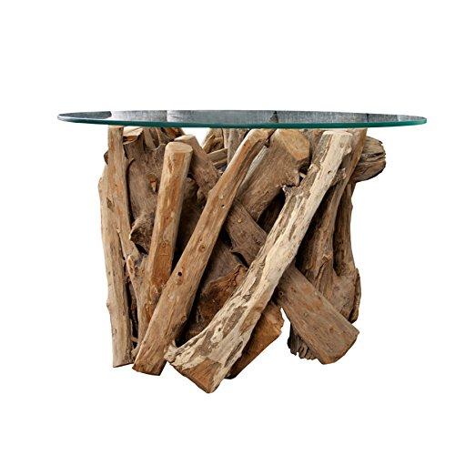 Invicta Interior Design Couchtisch Nature Lounge Teakholz mit runder Glasplatte Beistelltisch Tisch Holztisch Glasplatte
