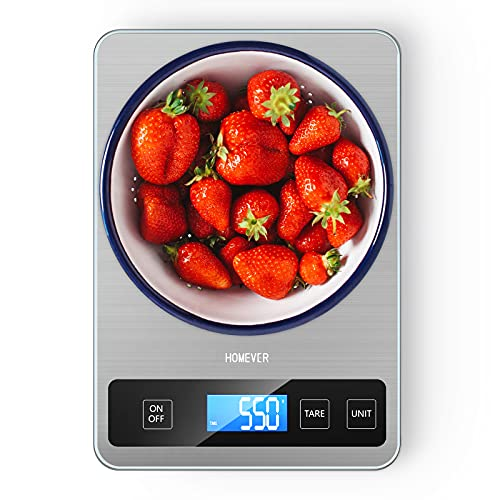 Digital Kitchen Food Scale, Homever 15kg Large Kitchen Scales Weight Grams and Ounces for Cooking Baking, 1g Accuracy and Back-lit LCD Display, Easy to Read and Clean, Silver